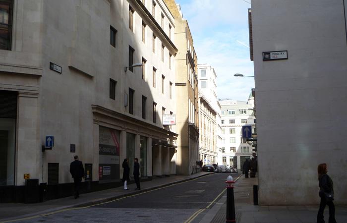 Blick in die kleine Straße Old Jewry
